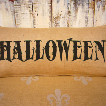 HALLOWEEN pillow. Burlap lumbar pillow. Halloween Decor. Decorative throw. Halloween Decorations