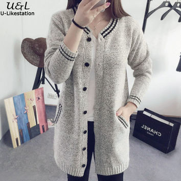 New Arrival 2016 Autumn Winter Sweater V-Neck Women Cardigan Sweater Women Students Sweaters Long Korean Version Sweaters