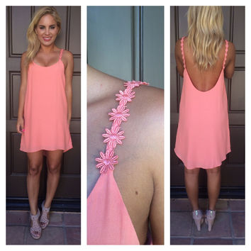 Coral Daisy Strap Low Back Dress