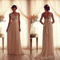 Goddess Sheer Backless Wedding Dress Lace With Flower Beading Bow Beautiful Vintage Garden Wedding Ball Gowns