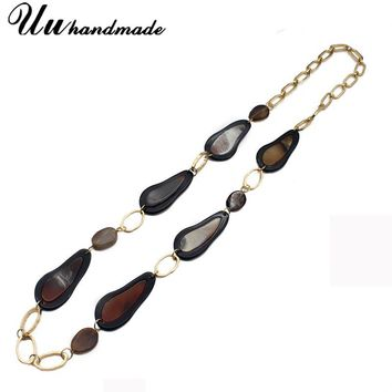steampunk necklaces & pendants vintage natural stone long maxi necklace jewelry women boho choker collares etnicos chain collier