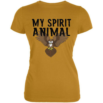My Spirit Animal Owl Mustard Yellow Juniors Soft T-Shirt