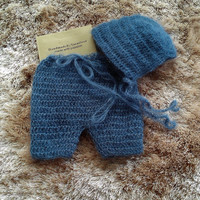 Match from 20 colors - Crochet/Knitting mohair baby bonnet and short pant set.Photography Props- Baby Crochet Mohair Hat