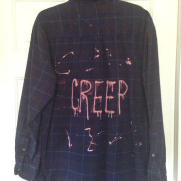 Plaid flannel Creep bleached- painted shirt // soft grunge// grunge x large