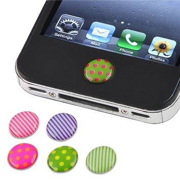 Insten 6 Pieces Home Button Sticker for iPhone/iPad/iPod touch (Dot/Strip)