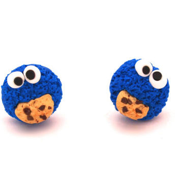 Cookie Monster Earrings Posts/Studs in Polymer Clay, Miniature Monster, Sesame Street, Blue Earrings, Cute Animal, Stuffed Animal