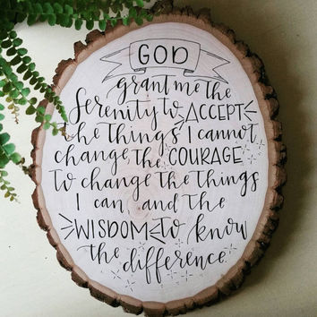 serenity prayer hand-lettering on wood, inspirational art, home decor
