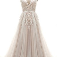 [ USD$ 359 ] A-Line V-Neck Tulle and Lace Ivory/Champagne Open Back Wedding Dress