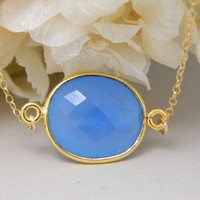 Bezel Necklace  Blue Chalcedony Gemstone by DanglingJewelry