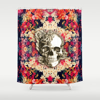 You are not here Day of the Dead Rose Skull. Shower Curtain by Kristy Patterson Design