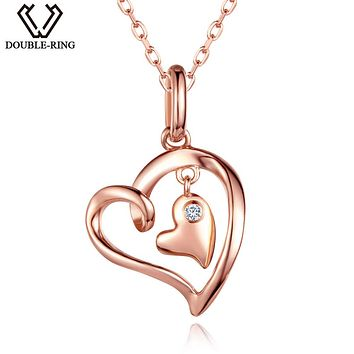 DOUBLE-R 0.02ct Women Real Diamond Pendants 925 Silver Necklaces Rose Gold Heart Diamond-Jewelry Valentine's Gift With Chain
