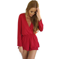 summer fashion one piece solid full sleeve deep v-neck  plus size women Jumpsuits & Rompers free shipping  XZ150811
