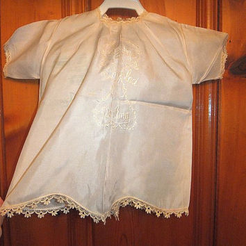 Vintage 1920s Baby Silk Christening Gown Satin Stitch Embroidery Antique Crochet Lace Dainty Dimpled Darling