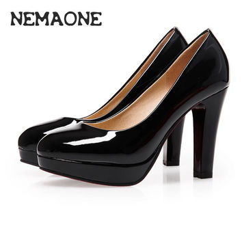 Chunky High Heels Women Shoes Round Toe Platform High Heels Pumps Shoes Woman Mary Jane Ladies Black Shoes big size 11 12
