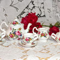 Floral Staffordshire Child's Miniature Doll Tea Set by David Michael China