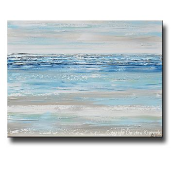 ORIGINAL Art Abstract Painting Textured Blue Aqua Mint White Grey Beige Beach Coastal Home Decor Wall Art 30x40""