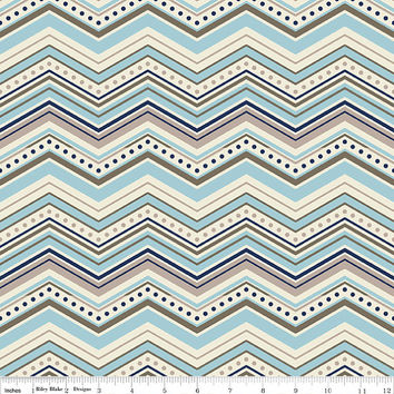 Blue and Gray Chevron 1/2 Yard, Cotton Fabric, Riley Blake Designs, More Available