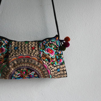 Hmong Old Vintage Style Ethnic Thai Boho Hobo Hippy Small Size Floral design bag