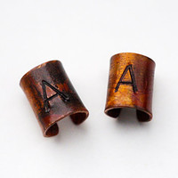 Couple's Ear Cuff Set, Matching Copper Ear Cuffs, Oxidized, Stamped, Initials, Monogrammed, Dark Patina