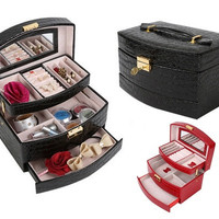 Three-tier Leather Jewelry Box,Cosmetic Case,Travel Case and Lock