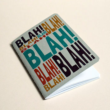 Handmade notebook Blah blah blah by purplecactusdesign on Etsy