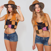 Vintage 70 Suede PATCHWORK Vest Hippie Vest Leather Boho Vest Crop Top