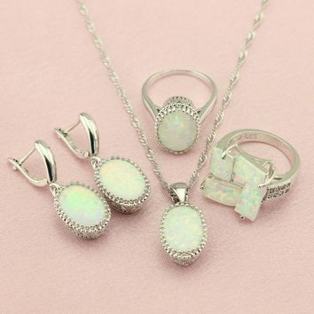 WPAITKYS Trendy Oval White Opal Silver Color Women's Wedding Jewelry Sets Drop Earrings Pendant Necklace Gift Ring Free Box