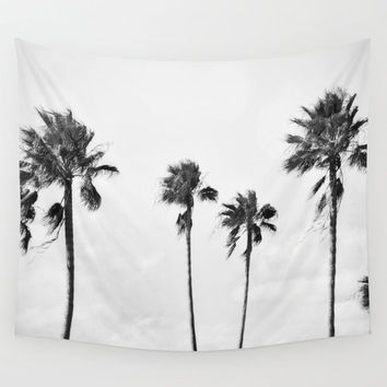 Black Palms - Wall Tapestry, Light Gray Coastal Wall Hanging Decor, Boho Chic Beach Surf Style Tropical Palm Trees Accent. In SM / MED / LG