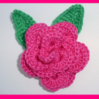 1 crochet  rose and 2 leaves, appliques and embellishments