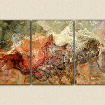 "Extra large abstract art canvas print triptych, 40x78 giclee on stretched canvas, in earth colors, ""Firestarter"""