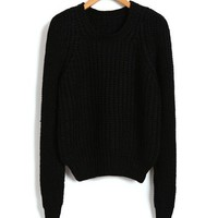 Cropped Chunky Knitted Jumper in Black
