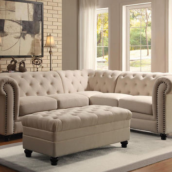 Roy OATMEAL Button-Tufted Sectional Sofa With Ottoman