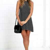 Billabong Last Call Ivory and Black Striped Swing Dress