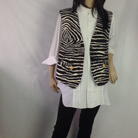 Zebra Ultra Suede Vest Vintage 80s  Ultra Suede Cache Menswear Print Vest AWESOME Gold Liomshead Fobs Oversized OS One Size s m l