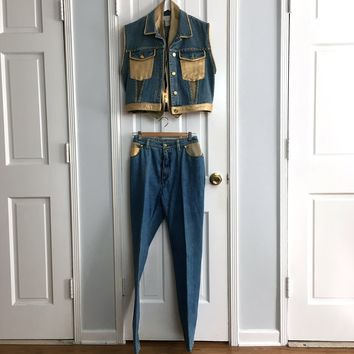 Authentic Vintage 80s women's denime & Leather 3pcs set pants sz M/12