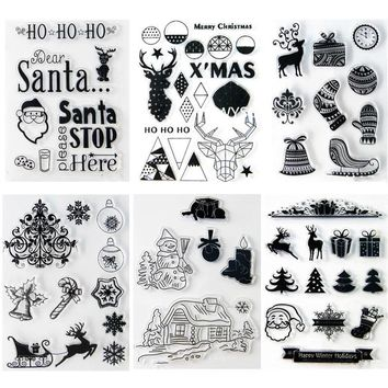 Christmas Stamps Tree Deer Sock Snowman Transparent Rubber Stamp Clear stamps Seal for Scrapbooking stamp DIY Decorative