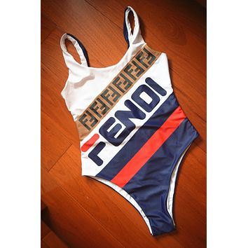 Fendi Tide Sexy Backless One-piece Swimsuit