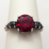 Gothic Lolita Goth Jewelry | Black Silver Oxidized Blood Red Ruby Ring 2ct Accented Ruby Goth Ring |Sized 2-16
