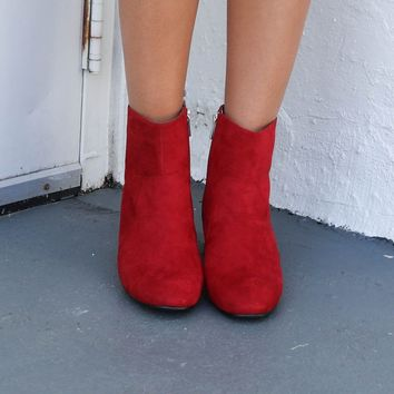 Best Babes Red Suede Boots