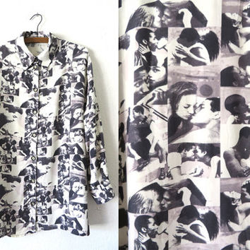 90s Beautiful Couples Photo Print Button Up - Make Out All Over Digital Print Long Sleeve Shirt - Womens size L