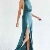 Silence + Noise Thigh-Slit Halter Maxi Dress
