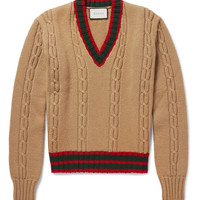 Gucci - Slim-Fit Striped Cable-Knit Wool Sweater | MR PORTER