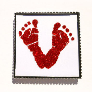 Baby Keepsake Footprints Custom Heart Shape Glitter on Glass Rhinestone Frame