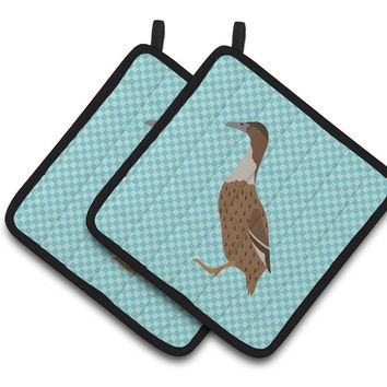 Dutch Hook Bill Duck Blue Check Pair of Pot Holders BB8035PTHD