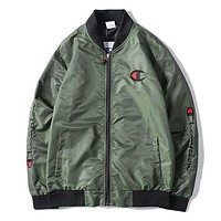 Champion New fashion bust embroidery logo and sleeve letter long sleeve top coat jacket Army Green