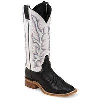 Justin Women's Bent Rail Black & White Burnished Calf Cowboy Boots