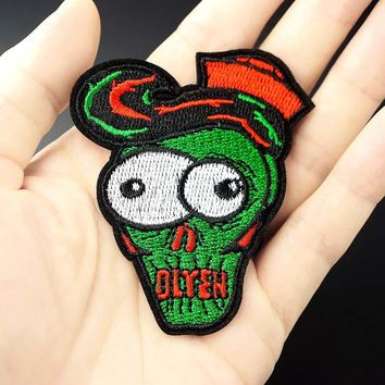 Zombie Size:6.2x7.0cm DIY Patch Badge Embroidered Cute Badges Hippie Iron On Kids Cartoon For Clothes Stickers