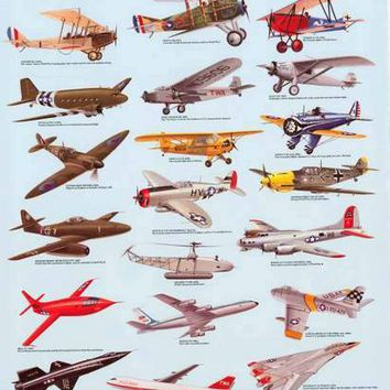 Historic Airplanes Poster 21x33