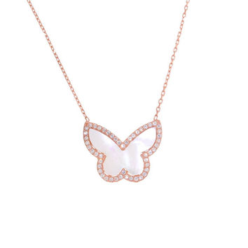 Mother of Pearl Butterfly CZ Necklace