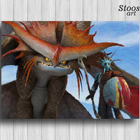 Valka and Cloudjumper print how to train your dragon poster dragon painting